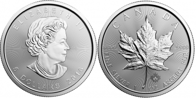 2016 Silver Canadian  Maple Leaf