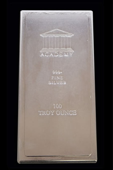 Silver Bars .999 Fine (100 oz.) - Academy &/or Com